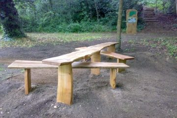 All Ability wooden Picnic Table Bench in Stover Country Park