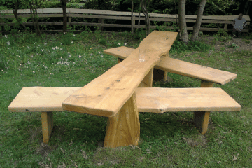 Carved Wooden easy access Picnic Table Bench on grass