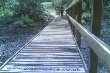 Boardwalk with non-slip tread and handrail