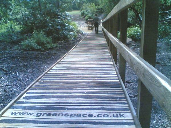 Boardwalk with non-slip tread and handrail