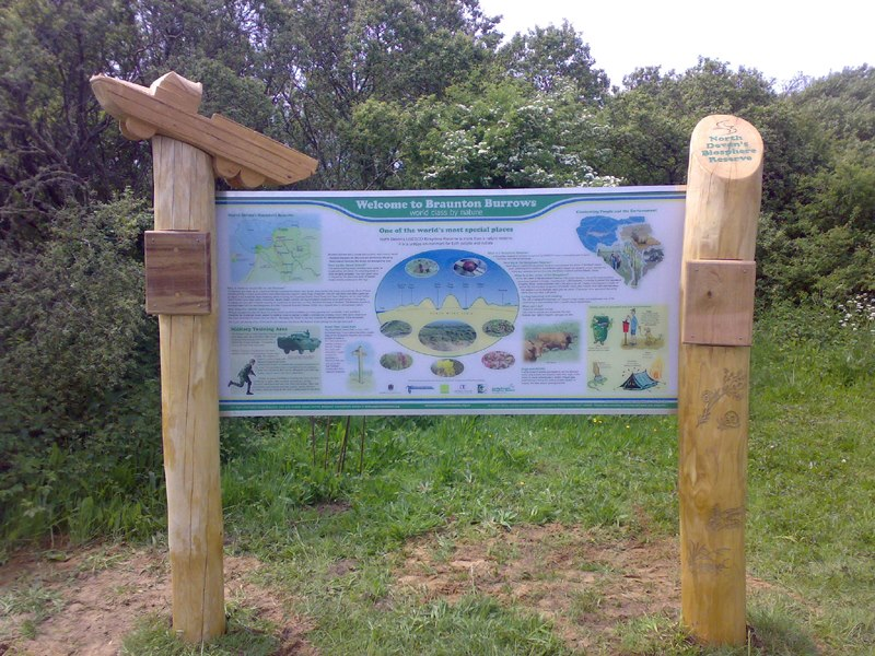 wooden Braunton Burrows welcome sign