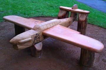 Wooden Aircraft bench Fairey Barracuda installed in a park