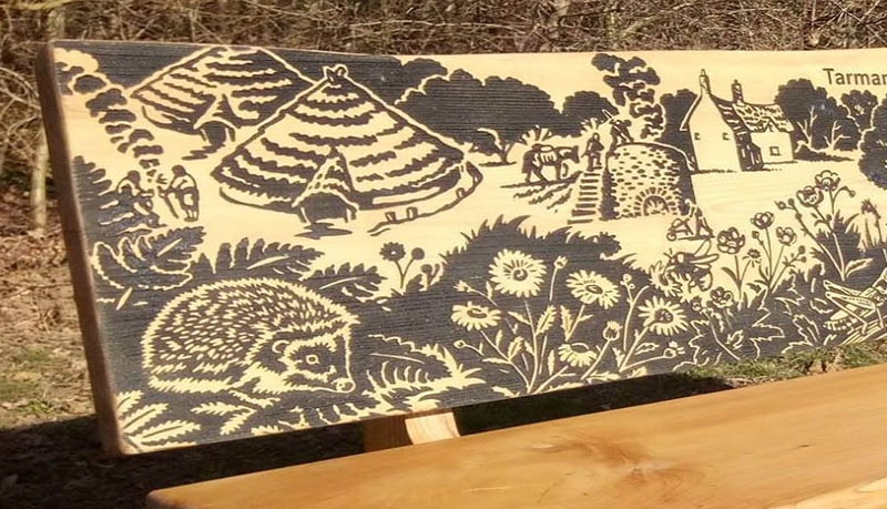 detailed artwork etched onto wood