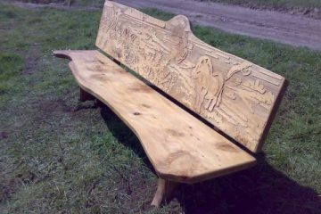 rustic wooden bench wildlife pony engraving
