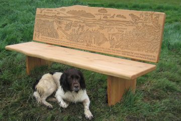 Wooden bench with wildlife images etched onto backrest with dog