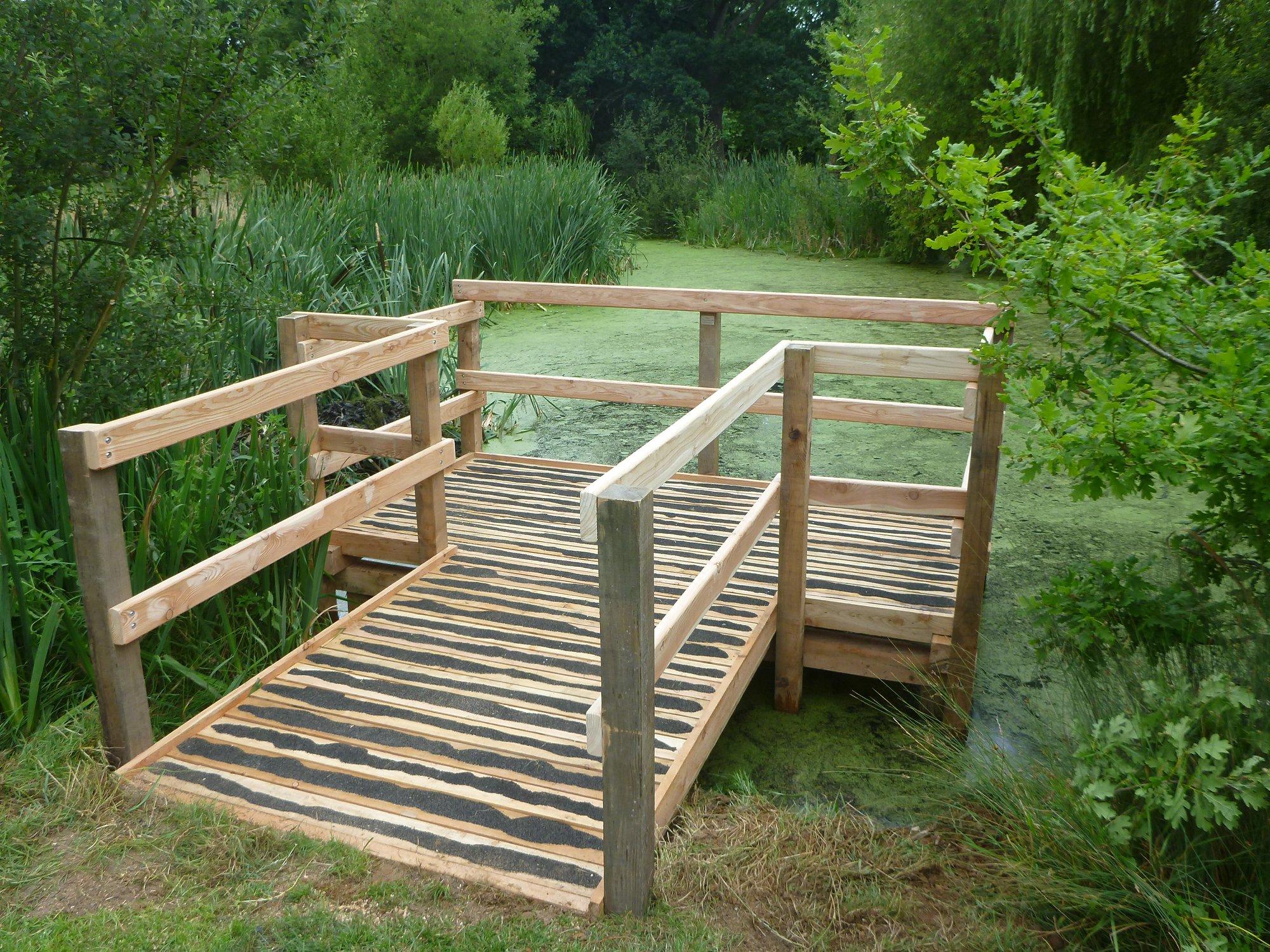 wooden pond dipping platform