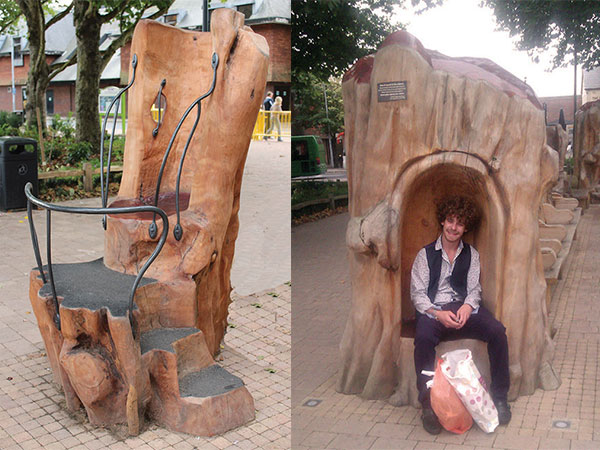 throne style seats carved from tree trunks